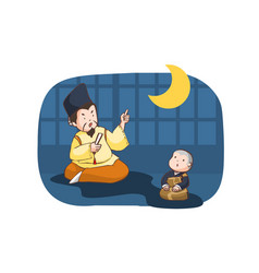 japanese king with little neophyte vector image