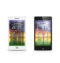 Smart phone weather widgets vector image