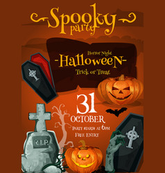 Halloween spooky party night poster vector