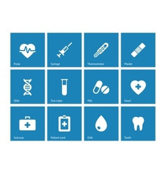 Medical icons on blue background vector