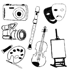 Doodle collection of art pictures vector