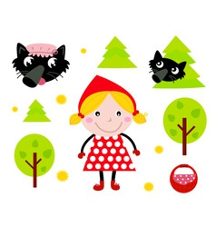 red riding hood icons vector image