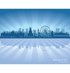 Brighton England skyline with reflection in water vector image