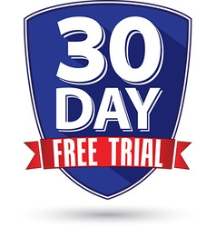 30 day free trial flat design label with red vector
