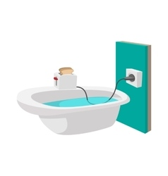 Toaster on the edge of a bathtub icon vector