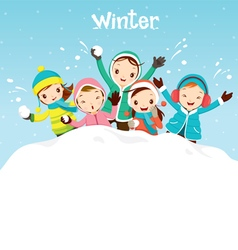 Children playing snow together vector