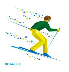 Alpine skiing cartoon skier running downhill vector