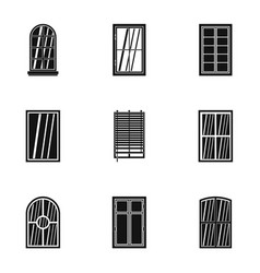 apartment window icon set simple style vector image