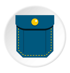 Blue pocket with yellow button icon circle vector