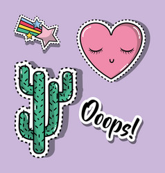 Cactus with heart and star fashion patches design vector