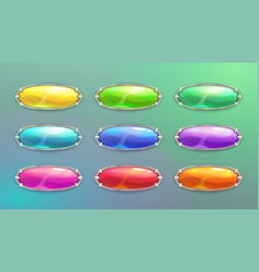 cartoon long horizontal crystal buttons vector image vector image
