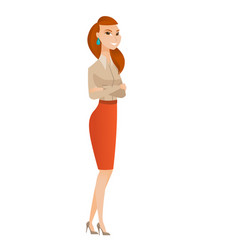 Caucasian business woman standing with folded arms vector