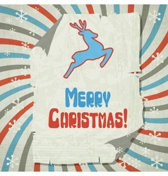 Christmas background with jumping stylized deer vector