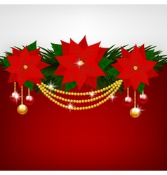 Christmas decoration with poinsettia flowers vector image vector image