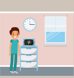 doctor medical ekg machine monitor clock and vector image