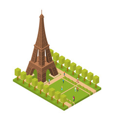 eiffel tower famous landmark of paris isometric vector image vector image