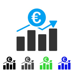 Euro business chart flat icon vector