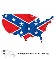 Flag of confederate states of america with usa map vector