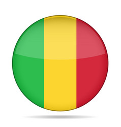 Flag of mali shiny round button vector
