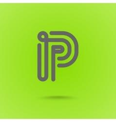 Graphic line font logo element letter p vector