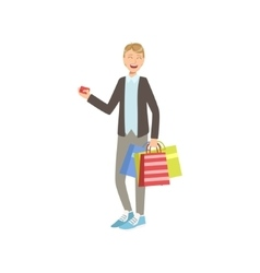 Guy With Paper Shopping Bags Holding Credit Card vector image vector image