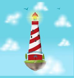 Lighthouse float island cloud design vector
