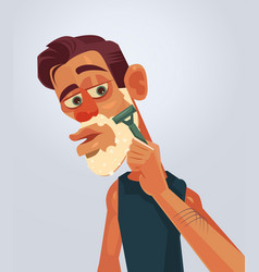 man character shaving face vector image