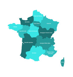 map of france divided into 13 administrative vector image vector image