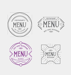 Menu logo template vintage geometric badge food vector