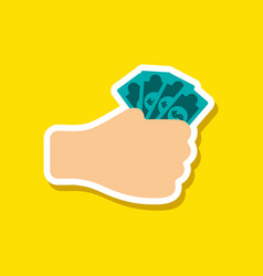 paper sticker on stylish background money in hand vector image