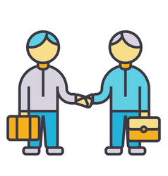 partnership handshake working together flat line vector image
