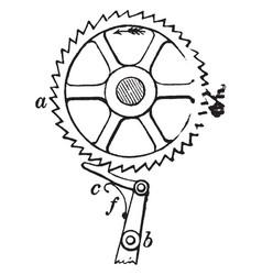 Ratchet wheel vintage vector