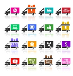 Set of cargo trucks colored icons vector