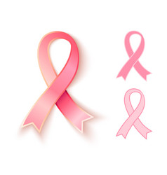 set pink ribbons vector image