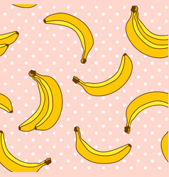sweet bananas pattern with polka dots background vector image