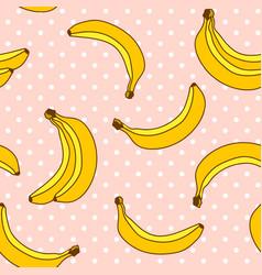 sweet bananas pattern with polka dots background vector image vector image