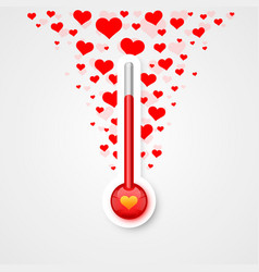 Thermometer of love scale with flying vector