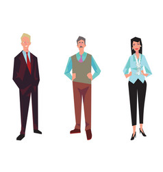 Three office workers employees managers vector
