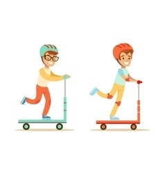 Two young boys riding scooters in helmets vector