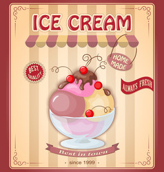 Vintage banner with scoop currant ice cream vector
