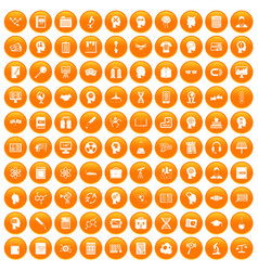 100 knowledge icons set orange vector