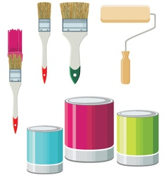 Set of brushes and paints for walls vector