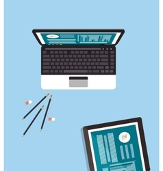 Computer with office related icons vector