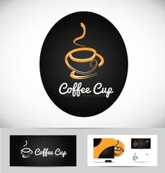 Hot coffee cup logo design vector