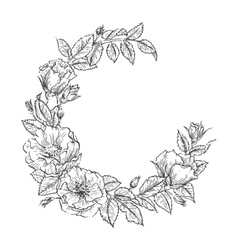 Floral handdrawn wreath vector