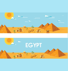 Web banner landscape of ancient egypt editable vector