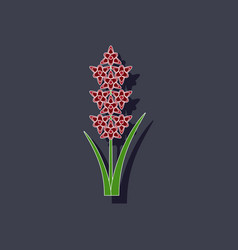 paper sticker on background of gladiolus vector image