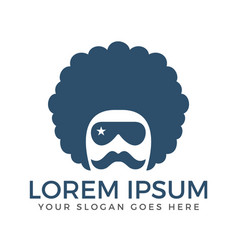 Curly hair guy with mustache and goggles logo vector