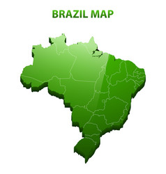 Highly detailed three dimensional map of brazil vector