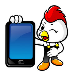 happy rooster character holding a smart phone vector image